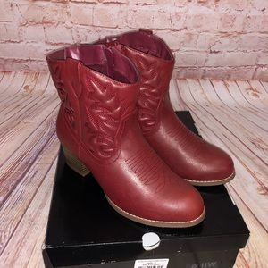 Torrid red stitched cowboy bootie NWT 11 wide
